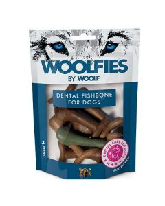 Hundegodbid Woolfies dental fiskeben, small 200g