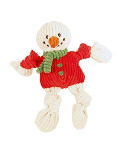 Snemand med rød sweater til hunden